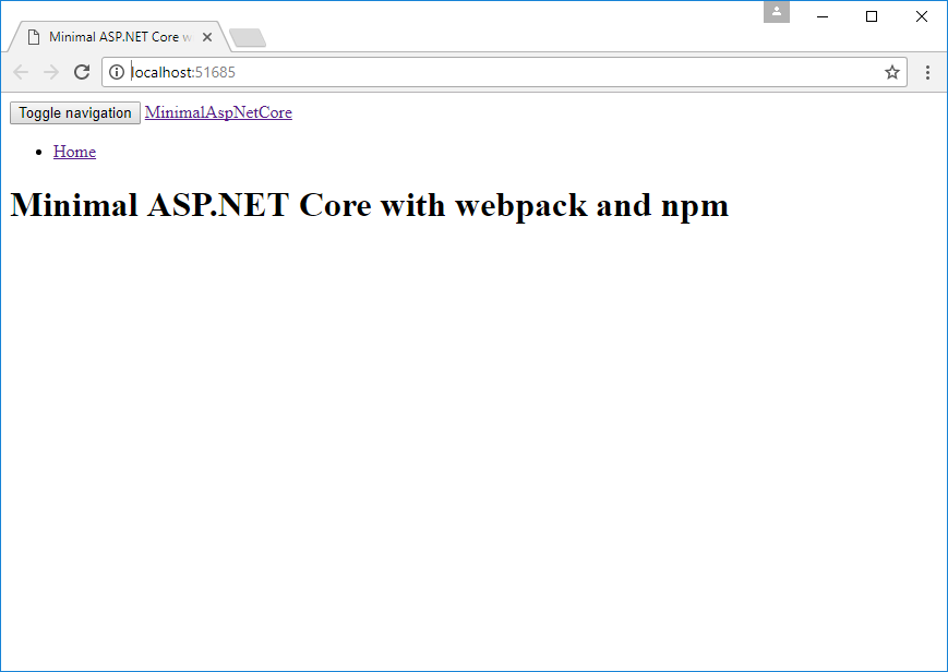 Building the minimal ASP NET Core MVC app with NPM and webpack