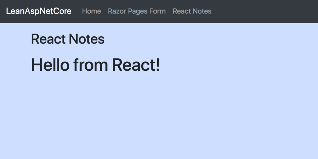 Lean ASP NET Core 2 1 – add a React application to an existing Razor